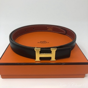HERMES Black and Gold Constance Reversible Size 60 Belt