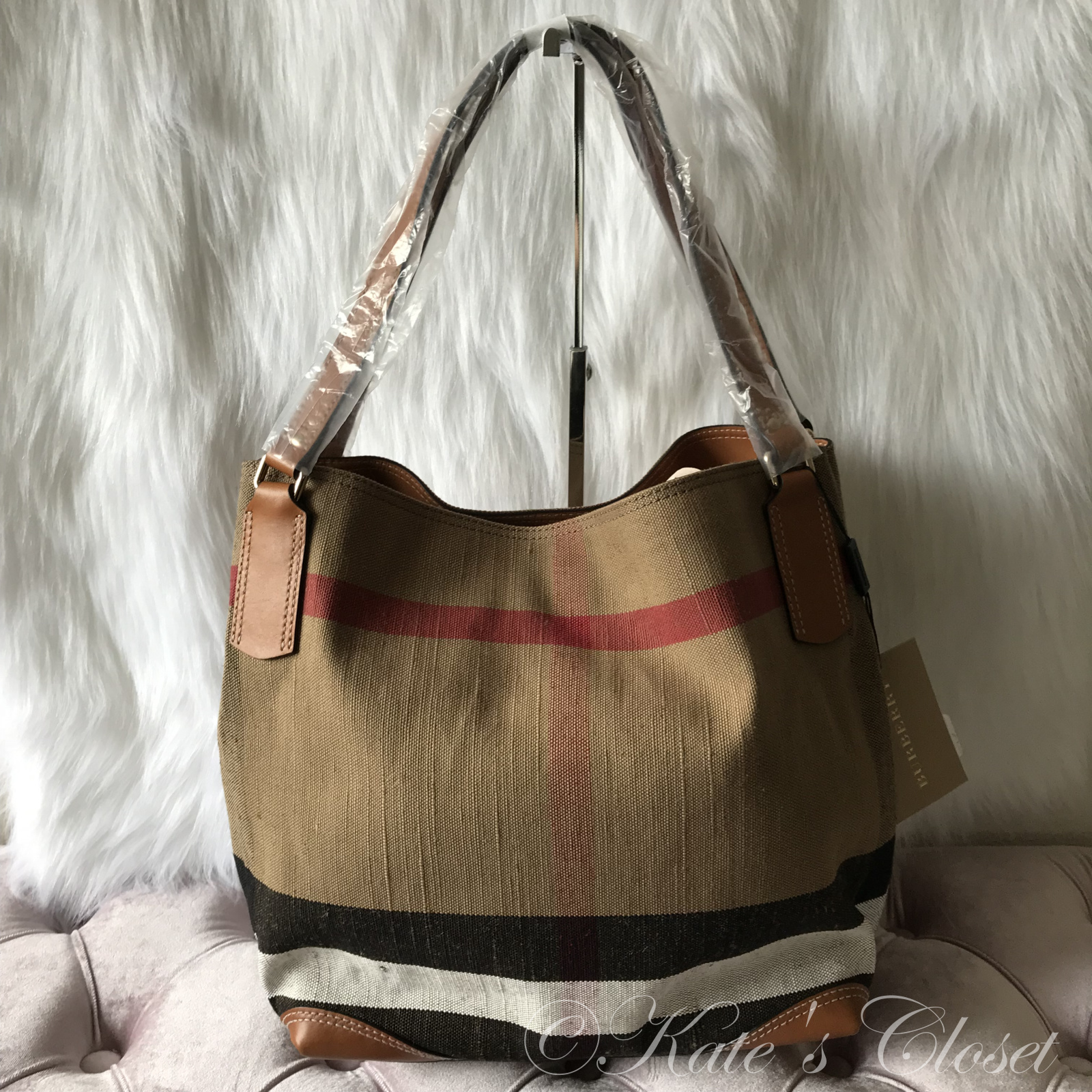 NEW BURBERRY Check Maidstone Saddle Brown Canvas Tote