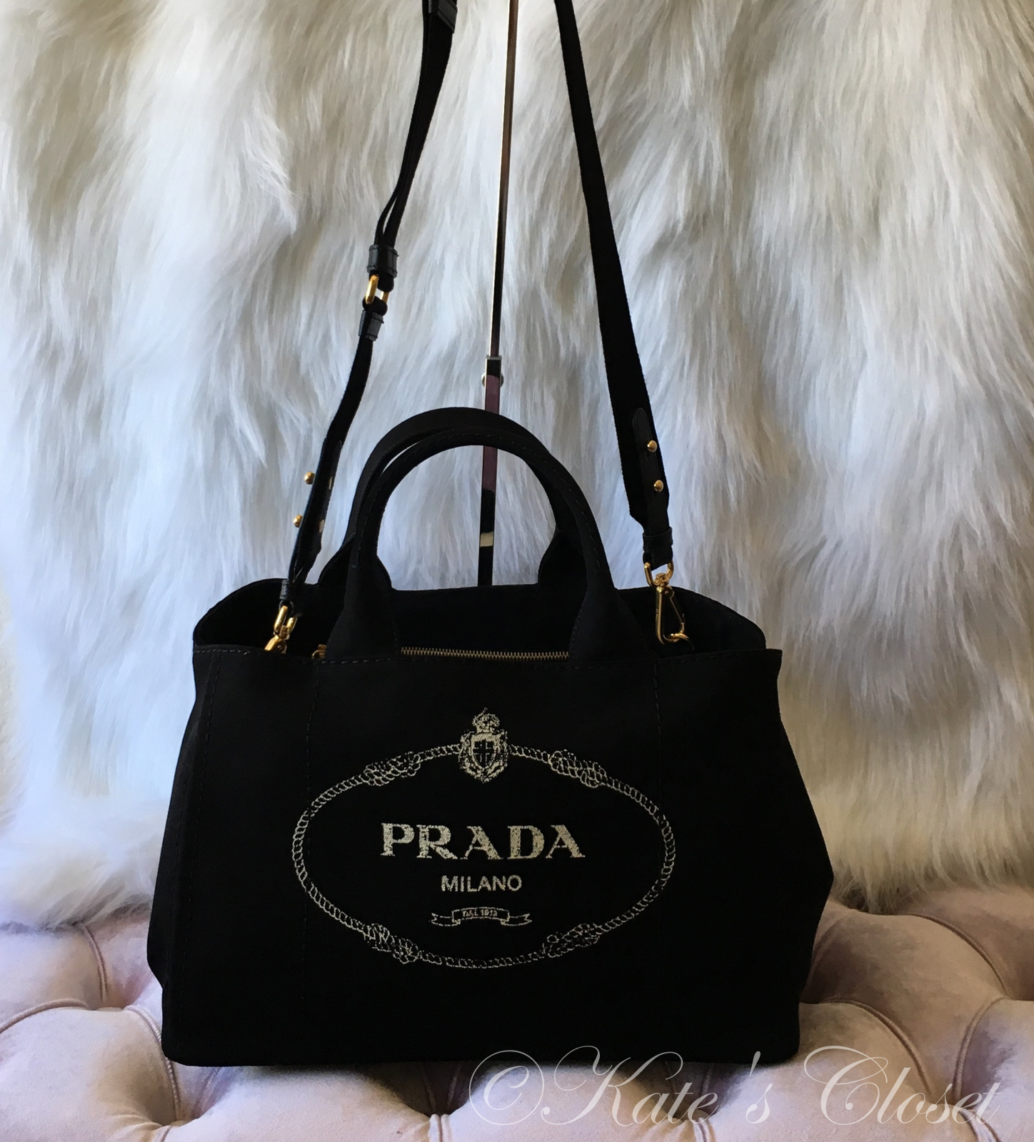 NEW PRADA Giardiniera Large Printed Canvas Tote