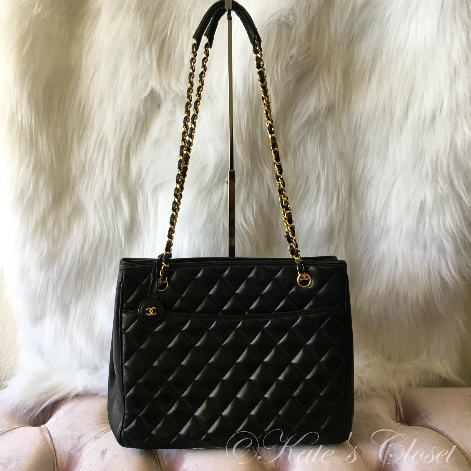 CHANEL Vintage Lambskin Quilted Tote