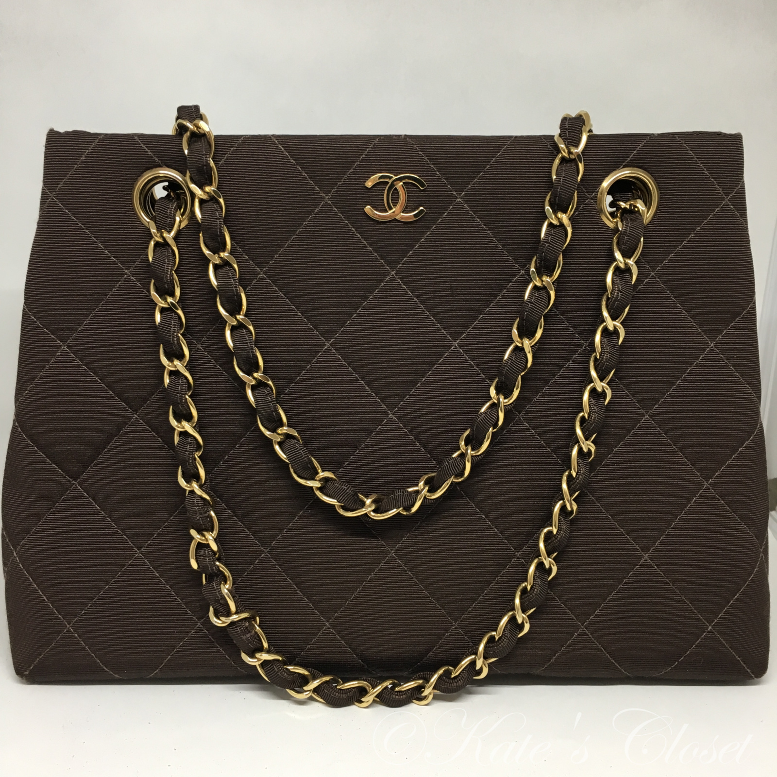 CHANEL Brown Quilted Canvas Shoulder Bag