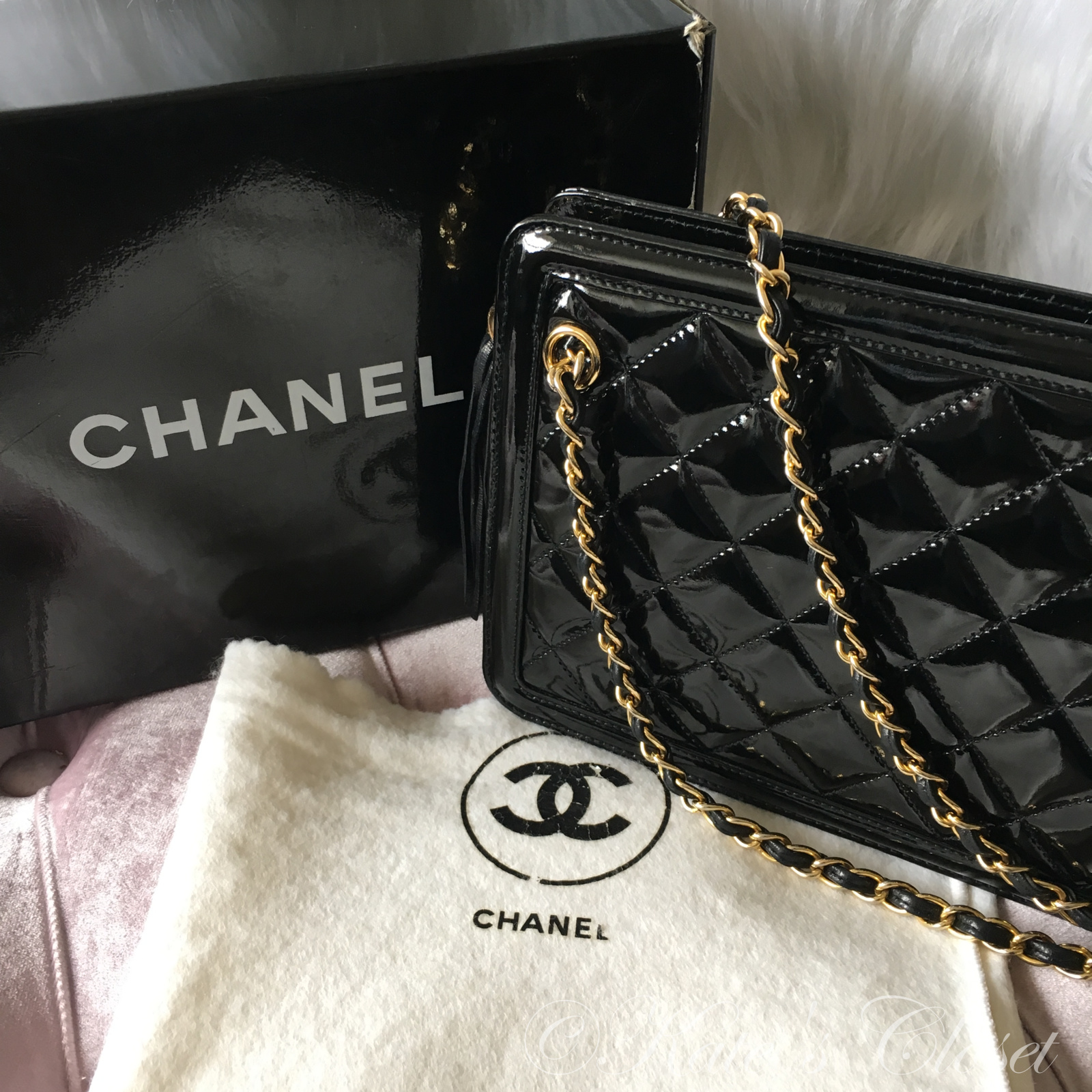 CHANEL Quilted Enamel with Tassel Shoulder Bag