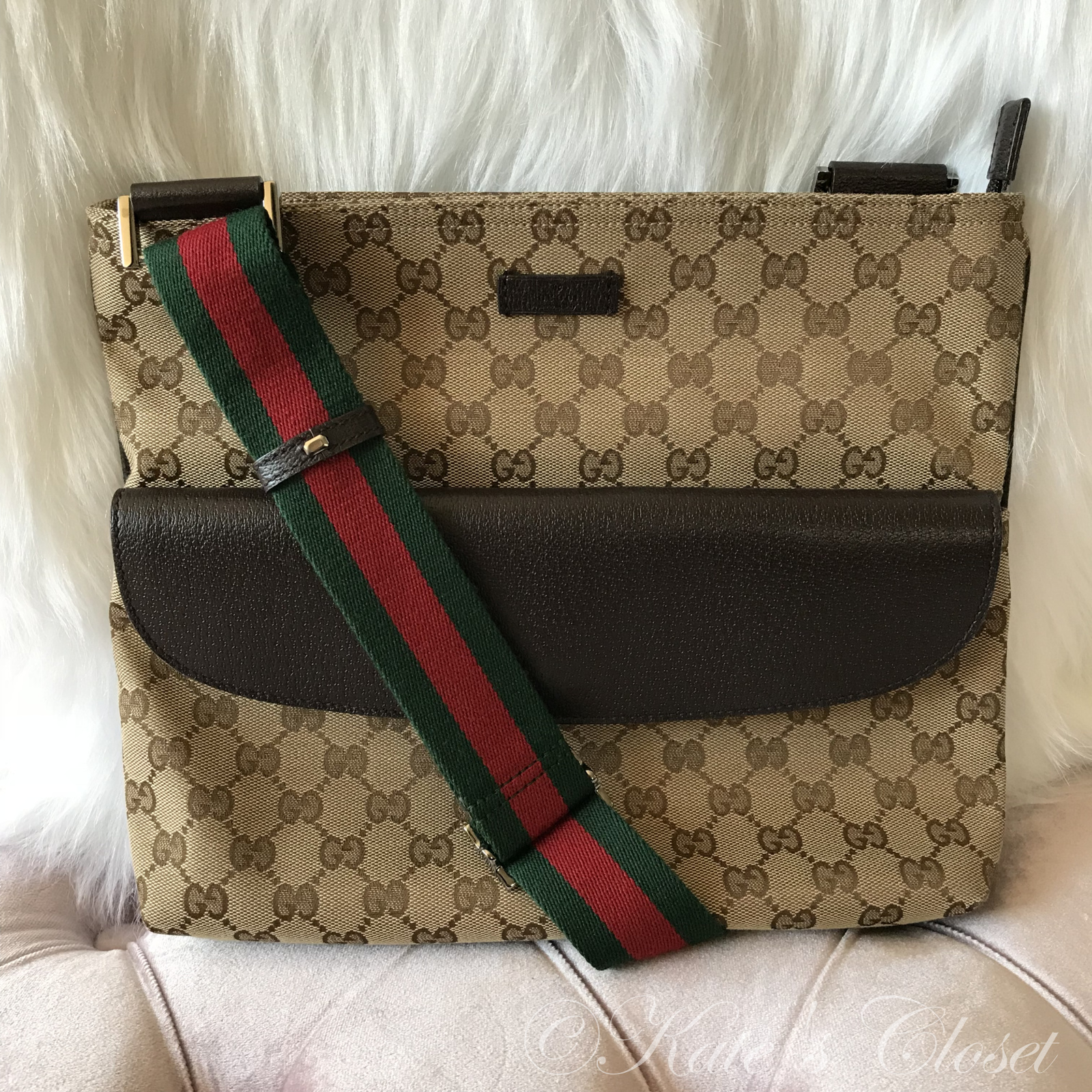 GUCCI GG CANVAS Beige and Brown Cross Body Bag with Webbing Strap