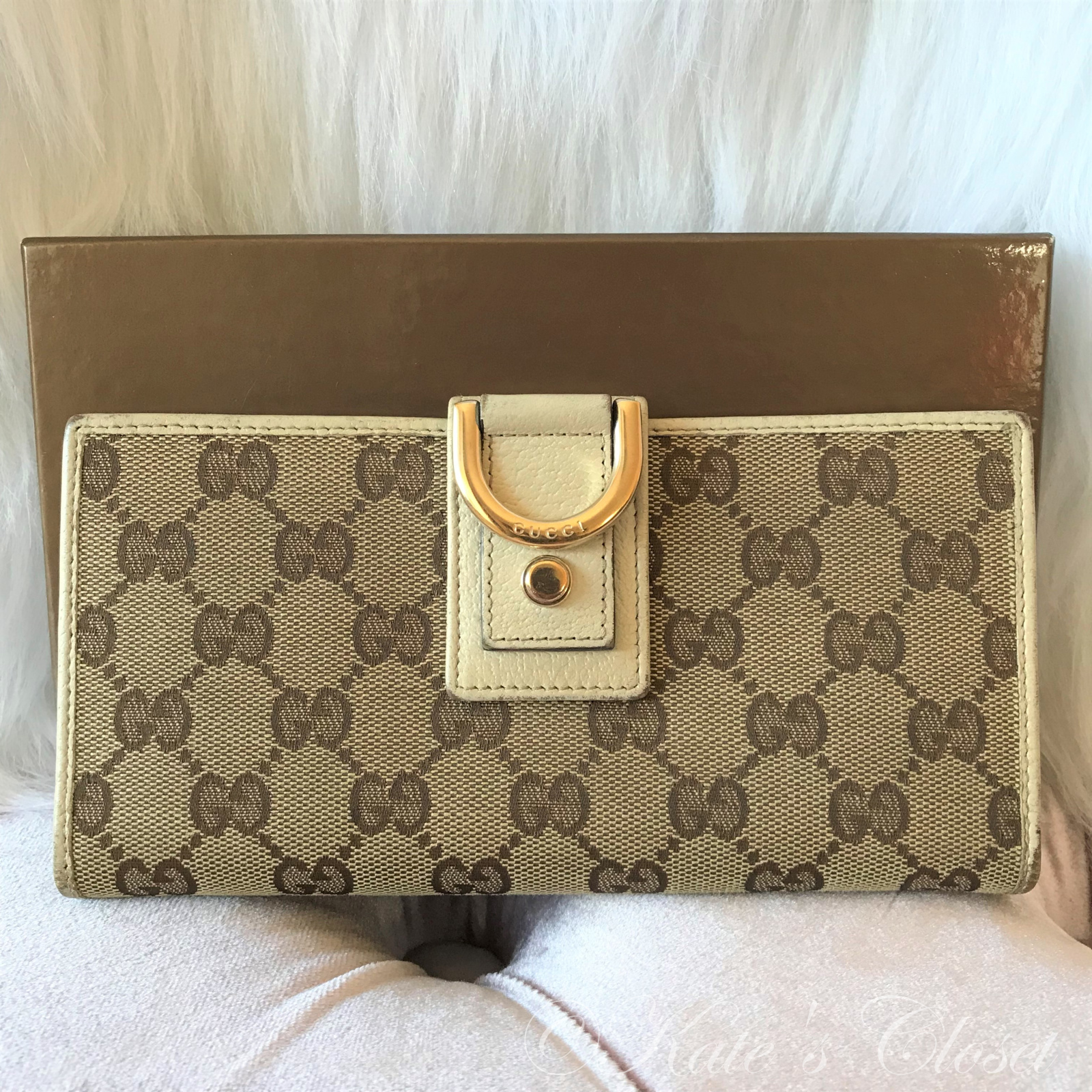 Gucci Canvas Wallet- Beige/White