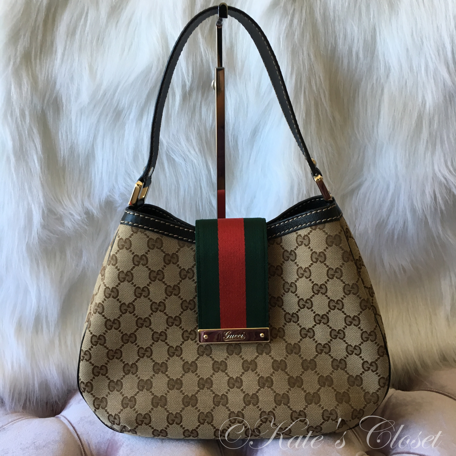 GUCCI GG Canvas/Webbing Shoulder Bag