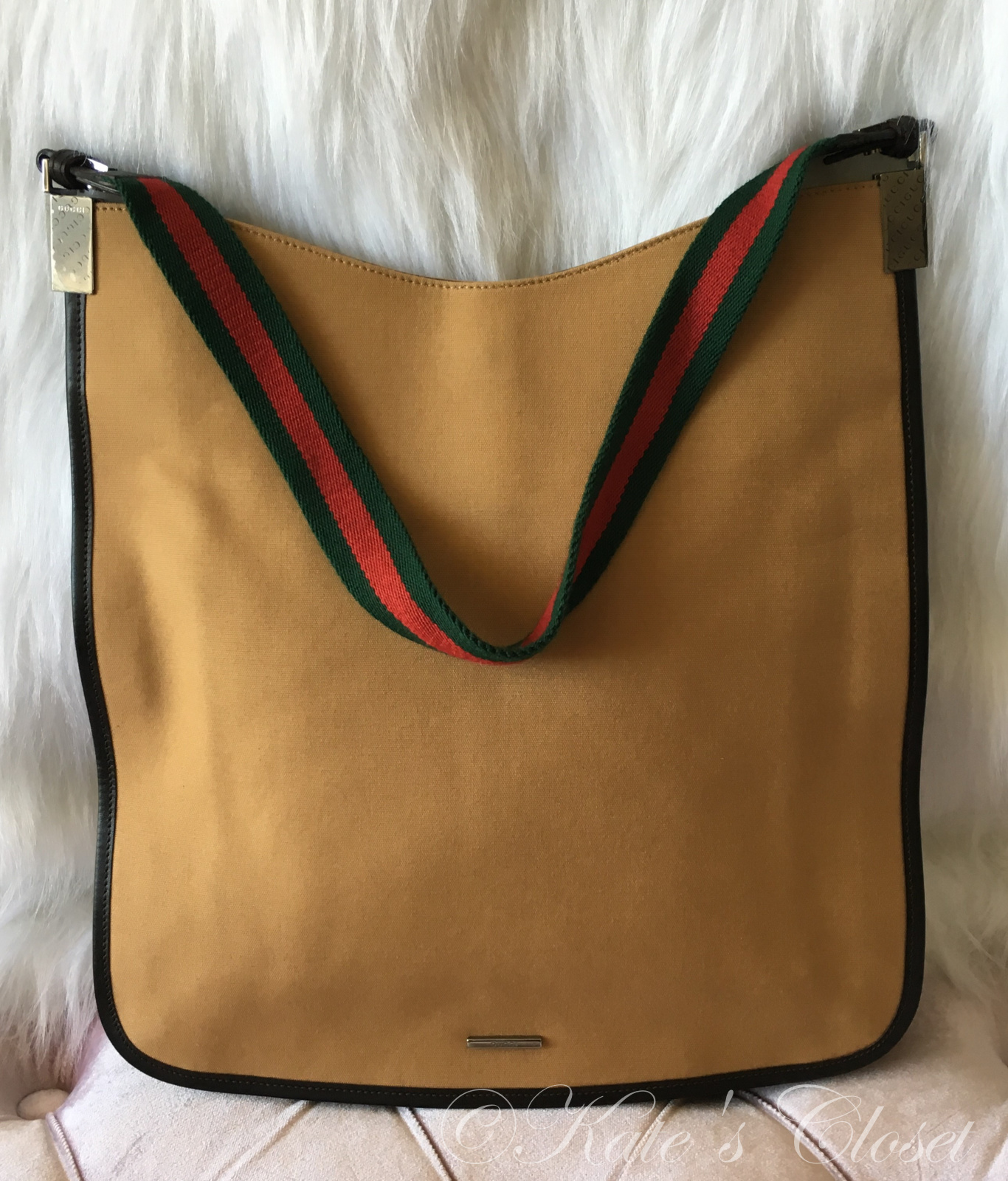 GUCCI Canvas Tote with Webbing Strap