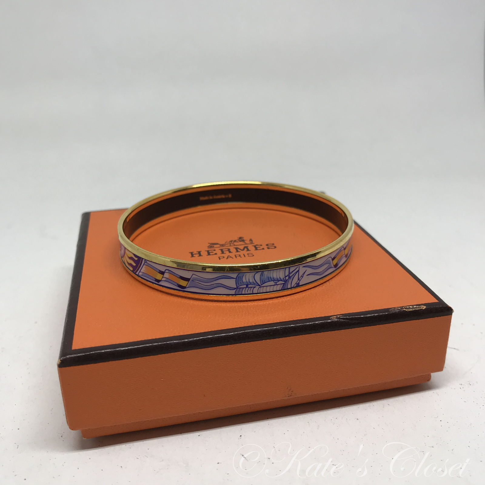 HERMES Blue and Gold Enamel Bangle Bracelet