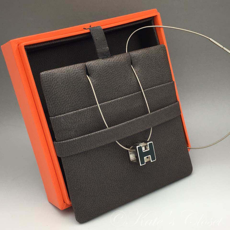 HERMES H SQUARE NECKLACE PALLADIUM BLACK/SILVER