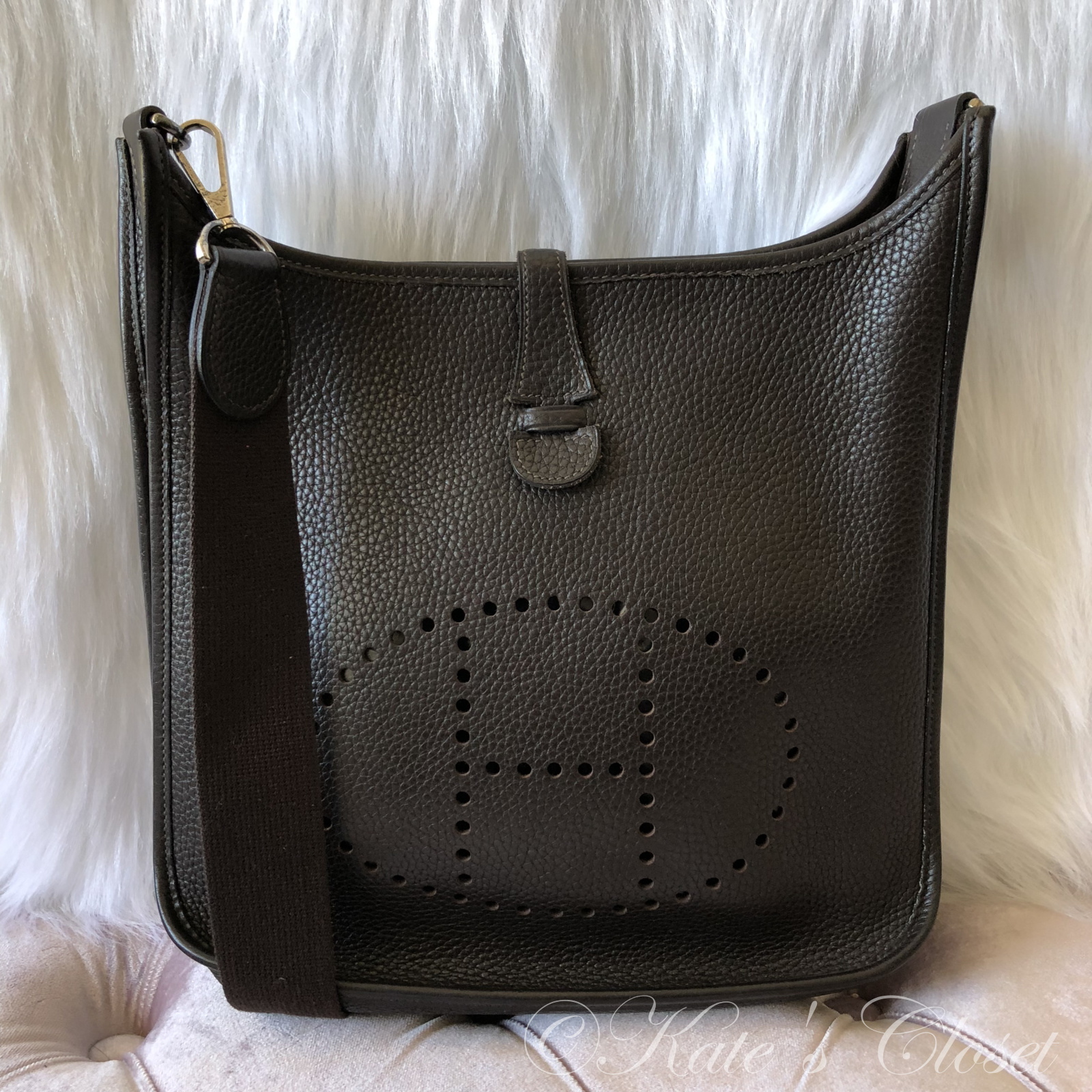 HERMES Evelyne II Clemence Dark Brown Leather Cross Body Bag