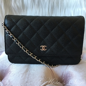 NEW CHANEL Caviar Leather Clutch with Chain