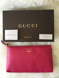 NEW GUCCI Swing Calf Leather Pink Pouch