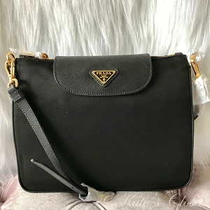 NEW PRADA Tessuto Saffiano Black and Gold Nylon Cross Body Bag