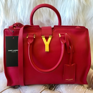 NEW SAINT LAURENT Y LIGNE Macho Fuschia Shoulder Bag/Tote