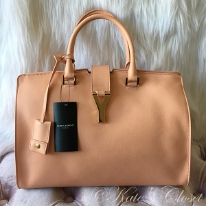 NEW SAINT LAURENT Ligne Y Macho Blush/Peach Leather Tote