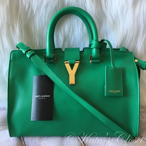 NEW SAINT LAURENT Ligne Y Macho- Menthe Green Leather Cross Body Bag