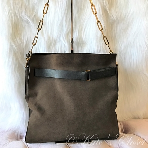 GUCCI Brown Shoulder Bag with Gold Chain