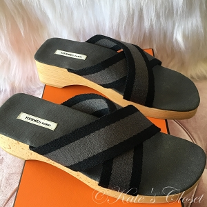 HERMES Sanary Sandals- Black