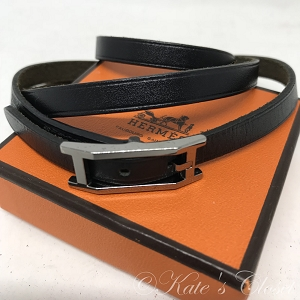 HERMES Leather Wrap Bracelet- Black