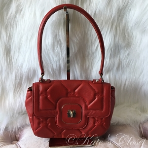 Longchamp Leather Quilted Should Bag- Red