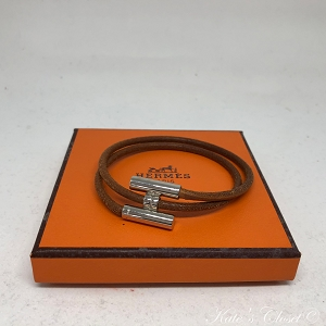 HERMES Brown and Silver Palladium H Bracelet