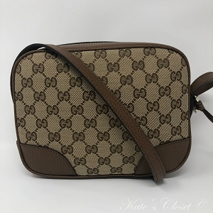 NEW GUCCI GG Canvas Dollar Calf Crossbody Bag (449413)
