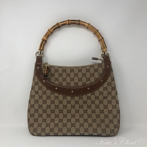 GUCCI GG Canvas Bamboo Shoulder Bag