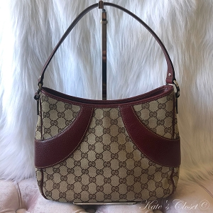 GUCCI GG Canvas Red and Beige Shoulder Bag