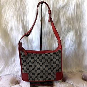 GUCCI GG Canvas Red Leather Shoulder Bag