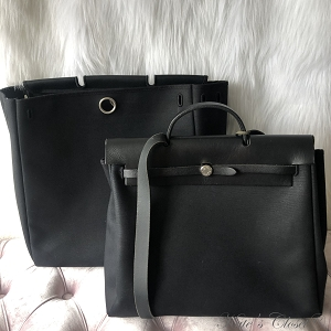 Hermes Herbag 2 In 1 Black Leather and Canvas Shoulder Bag