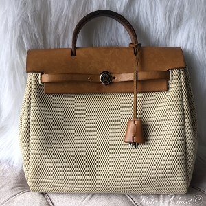 HERMES Herbag 2 In Beige Canvas and Leather Backpack