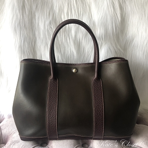 HERMES Garden Party Vintage Amazonia Brown Leather Tote