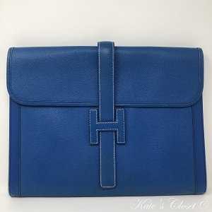 HERMES Vintage Jige Blue Leather Clutch