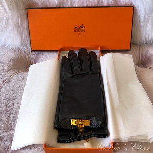 HERMES Soya Gloves with Kelly Hardware- Black