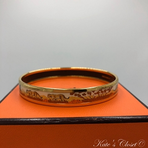 HERMES  Safari Printed Enamel Bangle Bracelet