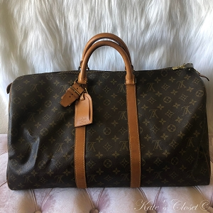 LOUIS VUITTON Keepall 50 Monogram Leather Weekend/Travel Bag
