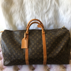LOUIS VUITTON Keepall Monogram 60 Leather Weekend/Travel Bag