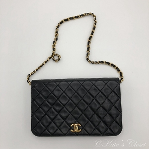 CHANEL Vintage Matelasse with Chain Black Leather Shoulder Bag