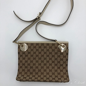 GUCCI  GG Canvas Beige and Brown Leather Cross Body Bag