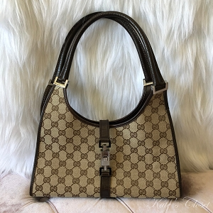 GUCCI GG Canvas Brown and Beige Leather Shoulder Bag