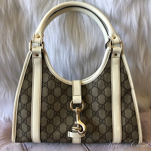 GUCCI GG Canvas White and Beige Leather Shoulder Bag
